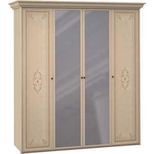 Шкаф Шатура ''Эльба светлая'' 4 дверный (1+2+1) с зеркалом 427707