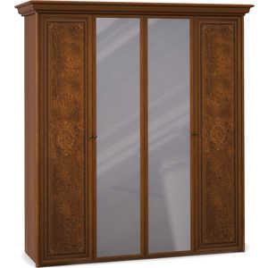 Шкаф Шатура ''Эльба темная'' 4 дверный (2+2) с зеркалом 411658