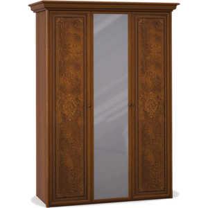Шкаф Шатура ''Эльба темная'' 3 дверный (1+1+1) с зеркалом 411675
