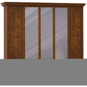 Шкаф Шатура ''Эльба темная'' 5 дверный (2+1+2) с зеркалом 411679