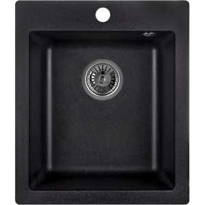 Мойка кухонная Weissgauff QUADRO 420 Eco Granit черный  weissgauff quadro 420 eco granit графит