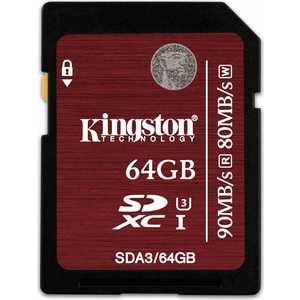 Карта памяти Kingston SDXC 64Gb Class3 (SDA3/64GB) sdxc kingston 64gb class10 g2 video sd10vg2 64gb