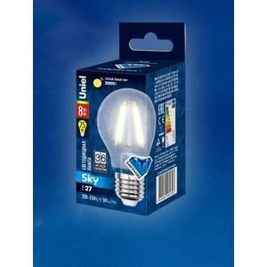 Филаментная светодиодная лампа Uniel LED-A60-8W/WW/E27/FR PLS02WH