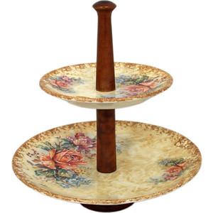 Двухъярусная ваза для фруктов LCS Элианто (LCS1311_2P-EL-AL) ваза для цветов lcs элианто цвет бежевый коричневый 30 см
