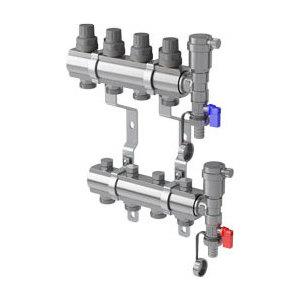 Коллекторная группа ROYAL Thermo в сборе универсальная 1 ВР-3/4 НР 2 выхода нержавеющая сталь (RTE 51.102) резьбонарезная голова 11r в сборе 2 bspt hss правая rekon 026206