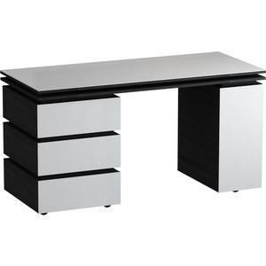 Письменный стол MetalDesign Кварт MD 762.01.11 корпус-черный/ стекло-белый