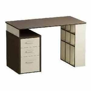 Письменный стол MetalDesign Кварт MD 766.02-03.04 корпус-венге/молочный дуб/ стекло-ясень шимо