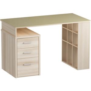 Письменный стол MetalDesign Кварт MD 766.05- 05.10 корпус-ясень светлый/ стекло-крем