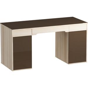 Письменный стол MetalDesign Кварт MD 765.05.02 корпус-ясень светлый/ стекло-венге