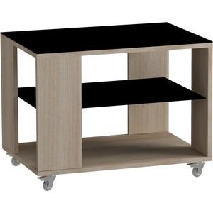 все цены на Журнальный стол MetalDesign Смарт MD 733.05.01 корпус-ясень светлый/ стекло-черный онлайн