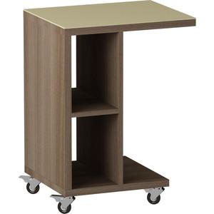 Журнальный стол MetalDesign Смарт MD 741.04.10 корпус-ясень темный/ стекло-крем