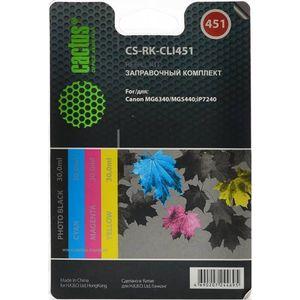 цена на Заправочный набор Cactus CS-RK-CLI451 многоцветный для Canon MG6340/MG5440/iP7240