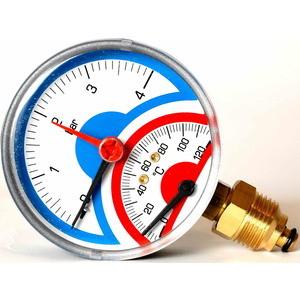 Термоманометр Sitem ф80. 0..4 бар 0..120 град 1/2 радиальный