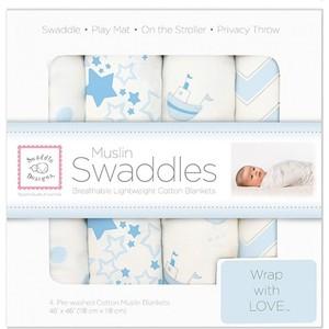 Набор муслиновых пеленок SwaddleDesigns 4 шт. Blue Little Ships (SDM-108PB)