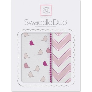 Набор пеленок SwaddleDesigns Swaddle Duo PK Chickies/Chevron (SD-470P) фланелевая пеленка swaddledesigns для новорожденного pink chickies sd 162p