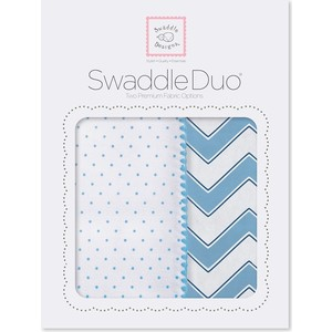 Набор пеленок SwaddleDesigns Swaddle Duo Blue Classic Chevron (SD-484B) набор пеленок swaddledesigns swaddle duo seacrystal little fox