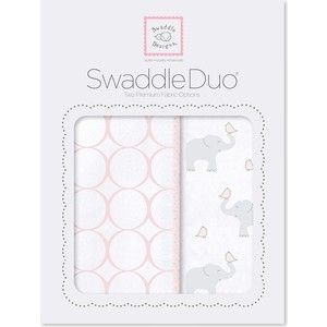 Набор пеленок SwaddleDesigns Swaddle Duo PP Elephant and Chickies Mod Duo (SD-474PP) фланелевая пеленка swaddledesigns для новорожденного pink chickies sd 162p