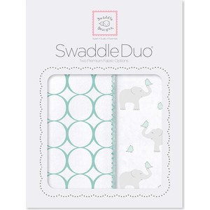 Набор пеленок SwaddleDesigns Swaddle Duo SC Elephant and Chickies Mod Duo (SD-474SC) фланелевая пеленка swaddledesigns для новорожденного pink chickies sd 162p