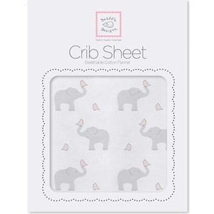 Детская простынь SwaddleDesigns Fitted Crib Sheet PP Elephant and Chickie (SD-473PP) scalloped fitted