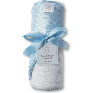 ��������� � ��������� SwaddleDesigns ��������� � ��������� Hooded Towel WH w/BL Mini Mod (SD-114PB)