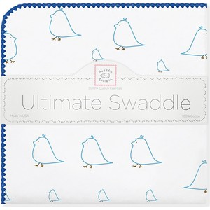 Фланелевая пеленка SwaddleDesigns для новорожденного Blue Chickies (SD-162B) фланелевая пеленка swaddledesigns для новорожденного pb elephants chicks sd 460pb