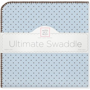 Фланелевая пеленка SwaddleDesigns для новорожденного Blue w/BR Dot (SD-014PB) swaddledesigns пеленка фланелевая bt blue polka dot