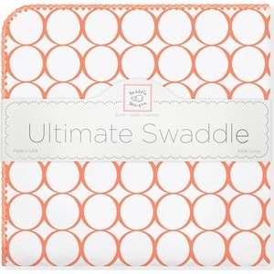Фланелевая пеленка SwaddleDesigns для новорожденного Orange Mod/WH (SD-022O) фланелевая пеленка swaddledesigns дл�� новорожденного bt blue polka dot sd 001b