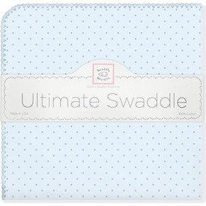Фланелевая пеленка SwaddleDesigns для новорожденного Blue w/Blue Dot (SD-048PB)