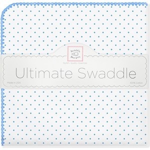 Фланелевая пеленка SwaddleDesigns дл�� новорожденного Bt. Blue Polka Dot (SD-001B) dot