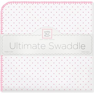 Фланелевая пеленка SwaddleDesigns для новорожденного Bt. Pink Polka Dot (SD-001P)