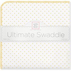 Фланелевая пеленка SwaddleDesigns для новорожденного Yellow Dot (SD-001Y)