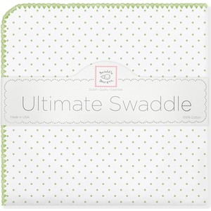 Фланелевая пеленка SwaddleDesigns для новорожденного Kiwi Polka Dot (SD-001KW) фланелевая пеленка swaddledesigns для новорожденного pb elephants chicks sd 460pb