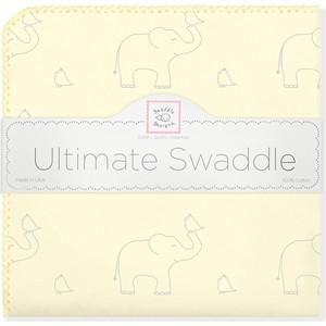 Фланелевая пеленка SwaddleDesigns для новорожденного Слоники с птичками желтая (SD-352SY)