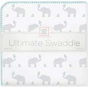 Фланелевая пеленка SwaddleDesigns для новорожденного SC Elephants/Chicks (SD-460SC) фланелевая пеленка swaddledesigns для новорожденного pink chickies sd 162p