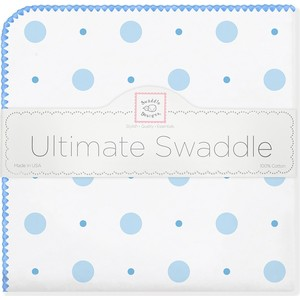 Фланелевая пеленка SwaddleDesigns для новорожденного Blue Big Dot Lt Dot (SD-492B) polka dot tie shoulder shirred top