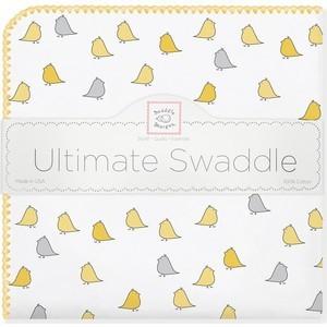 Фланелевая пеленка SwaddleDesigns для новорожденного Птички - желтые (SD-404Y)