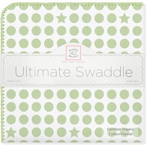 Фланелевая пеленка SwaddleDesigns Organic Kiwi Dot/Heart K (SD-068KW)