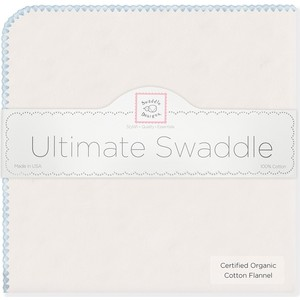 Фланелевая пеленка SwaddleDesigns Organic Natural w/Pstl Bl (SD-004PB)