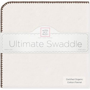 Фланелевая пеленка SwaddleDesigns Organic Brown Edge (SD-004BR)