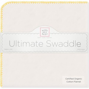 Фланелевая пеленка SwaddleDesigns Organic Natural w/Yellow (SD-004Y)