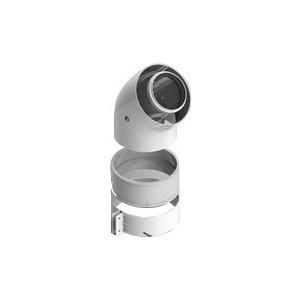 Отвод STOUT коаксиальный 45 градусов диаметр 60/100 п/м (SCA-6010-000045) адаптер stout диаметр 60 100 для котла вертикальный коаксиальный sca 6010 230100