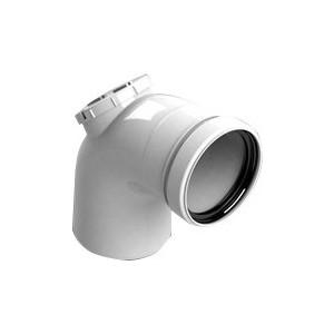 Отвод STOUT 87 градусов с ревизией диаметр 80 м/п PP-FE (SCA-8080-010090)