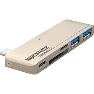 Коммутатор Promate USB для Macbook MacHub-12 Gold