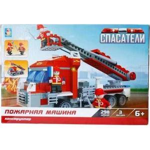 Конструктор 1Toy спасатели пожарная машина 298дет Т57040 машина пламенный мотор volvo v70 пожарная охрана 870189