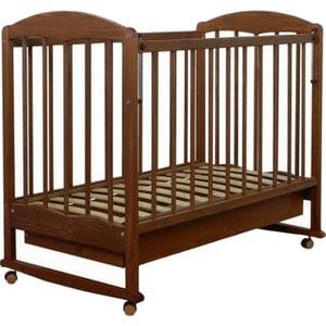 Кровать СКВ Компани Березка опускающаяся стенка колесо качалка ящик накладка ПВХ Орех (КБ121-0299121117) кроватка скв березка 120117 орех
