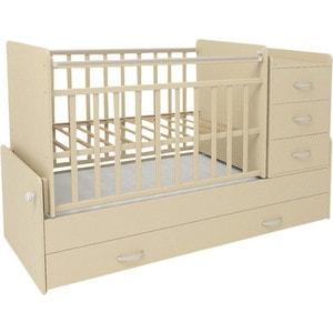Кровать трансформер СКВ Компани 5 опускающаяся боковина поперечный маятник 4 ящика накладка ПВХ бежевый (КС534-0305534039) кроватка скв березка 120119 бежевый