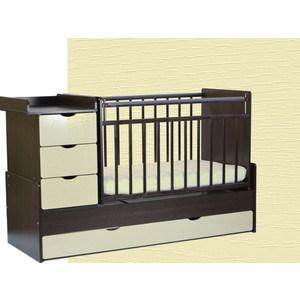 Кровать трансформер СКВ Компани 5 опускающаяся боковина поперечный маятник 4 ящика накладка ПВХ венге ясень крем фасад жираф (КС540-0496540038-410) цена