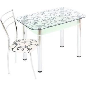 Стол обеденный Мебель из Стекла 3.4 ДП28 прозрачный белый