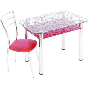Стол обеденный Мебель из Стекла 3.4 ДП28 прозрачный красный