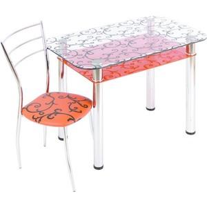 Стол обеденный Мебель из Стекла 3.4 ДП28 прозрачный оранжевый